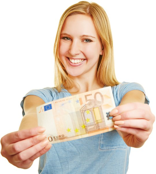 Girl holding a 50 Euro Note